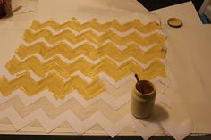 Piles of Projects: How to Make Your Own Chevron Stencil {Freezer Paper on Fabric}