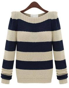 Navy Apricot Striped Long Sleeve Knit Sweater EUR€16.36