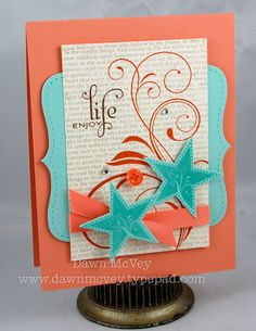 Enjoy Life Card by Dawn McVey for Papertrey Ink (May 2009) - diecuts, flourishes, stars, text