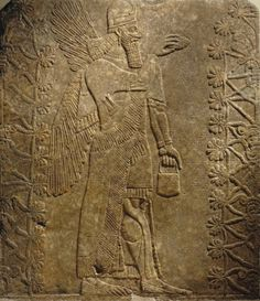 *Winged Genie* Nimrud, Assyria (modern day Iraq) Neo-Assyrian period, reign of Ashur-nasir-pal II BCE Ancient Egyptian Art, Ancient Aliens, Ancient History, Egyptian Mythology, Egyptian Goddess, European History, Ancient Greece, American History, Ancient Mysteries