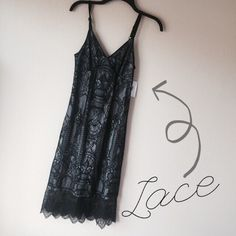 Black/Gray Lace Midi Dress New, black lace dress with gray lining underneath. Black adjustable straps, zipper back closure // Never used. Dresses Midi
