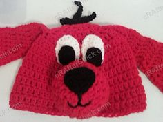 This crochet character hat is my interpretation of Clifford the red dog from the children& book series for my mother to wear in her classroom. It& a free crochet hat pattern for this dog hat and is an advanced beginner recommended project. Crochet Animal Hats, Crochet Kids Hats, Crochet Cap, Crochet Beanie, Free Crochet, Crochet Children, Crocheted Hats, Crochet Character Hats, Love Knitting
