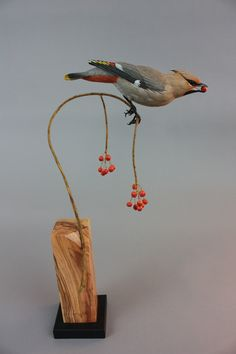 Cedar Waxwing Created using tupelo wood and acrylic paint. Artist:  Gilles Prud'homme