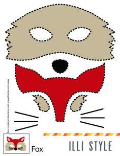 Fox Mask Printable Template via Illistyle.com