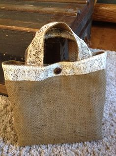 Charming burlap and lace handbag. $12.00, via Etsy.