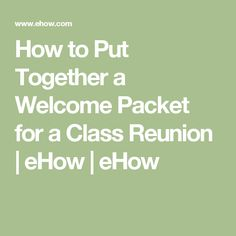 Planning your school reunion is a big task, and you want to make sure that you get all of the details right in order to create a successful event. One of these details is the class reunion welcome packet, which you'll give out to all reunion attendees. Class Reunion Favors, Class Reunion Invitations, Class Reunion Decorations, High School Class Reunion, 10 Year Reunion, High School Classes, Class Reunion Ideas, Reunion Name Tags, Reunion Centerpieces