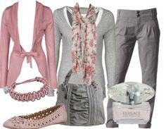 Graue Chinos mit rosa kombiniert...ein frischer look für die ersten Frühlingstage...
