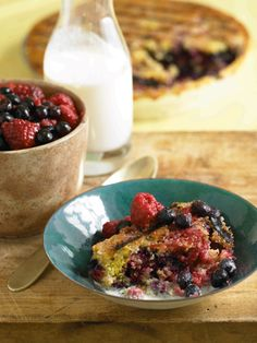 Red, white & blue! Grilled Cornmeal and Summer Berry Clafouti #recipe from Fire it Up, by Andrew Schloss and David Joachim