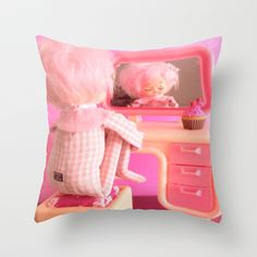 Pink Posey Throw Pillow by Vintage  Cuteness - $20.00 Down Pillows, Throw Pillows, Poplin Fabric, Pillow Inserts, Kitsch, Hand Sewing, Kawaii, Dolls, Stylish