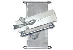White silver theme mini scroll invitations with ribbon box. Scroll Wedding Invitations, Scroll Invitation, Menu Cards, Table Cards, Ribbon Box, Money Envelopes, Sweet Box, Silver Anniversary, Wedding Engagement