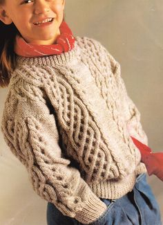 Celtic Cable & I-cord Sweater ~ - ~ DK Knitting Pattern Free Aran Knitting Patterns, Rowan Knitting, Jumper Knitting Pattern, Baby Knitting, Free Knitting, Knitting Needle Conversion Chart, I Cord, Vintage Knitting, Celtic
