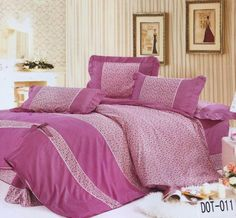 74428d6cde8df Pink floral polka and stripe Bedsheets Glace cotton Double bed sheet and 2  pillow covers (