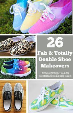 26 Amazing and Doable Shoe Makeovers - Roundup at iLTC! - Dream a Little Bigger Fashion Moda, Diy Fashion, Fashion Ideas, Fashion Trends, Zapatillas All Star, Shoe Makeover, Meme Design, Shoe Refashion, Shoe Crafts