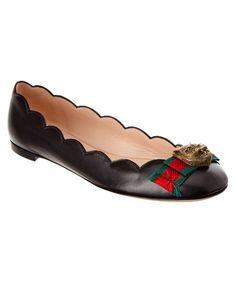 GUCCI GUCCI MARI LEATHER BALLET FLAT'. #gucci #shoes #flats