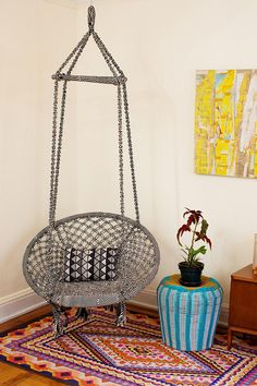 Boho Living Room Swing Chair - Urban Outfitters for the patio Hanging Hammock Chair, Swinging Chair, Chair Swing, Hanging Chairs, Rocking Chair, Room Swing, Urban Outfitters Home, Indoor Swing, Apartment Essentials