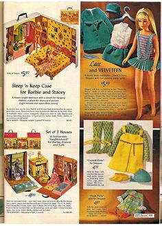1968 Barbie, Francie and Skipper play cases.
