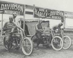 Vintage Harley Davidson Race Team Black and White Photo