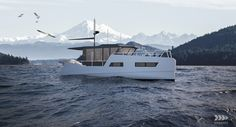 vik unveils electric boat that can be recharged from solar panels or wind power Small Diesel Generator, Small Yachts, Electric Boat, Super Yachts, Wind Power, Weekend Trips, Solar Panels, Underwater, Sailing