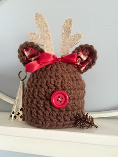 A personal favorite from my Etsy shop https://www.etsy.com/listing/251078511/christmas-hat-baby-hat-girl-reindeer-hat