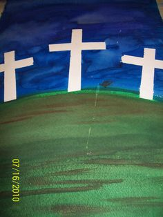 Great Easter projects. Intro to watercolor for young students.  May also put them on hills for more depth. Masking off the crosses! This was created by teacher Jo Spillman/ This peice created by Juli MC Gill Out of the box art studio