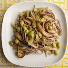Soba Noodles with Mushrooms and Celery - Stir-fries are fast, delicious, and because they are mostly vegetables, very nutritious. For this recipe, once you have made the soba and cut your vegetables, your meal will be on the table in 10 minutes. In Japan, soba noodle cooking water is often sipped as a tonic. In this recipe we use its goodness to moisten the stir-fry instead of using extra oil.