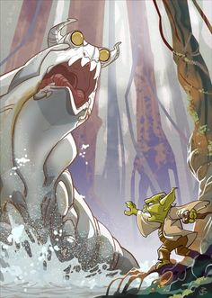 Star Wars illustration by Patrick Schoenmaker: Yoda battling a swamp slug. 20111023_Yoda_vs_Swampslug_01_small.jpg (548×770)