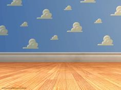 Toy Story Clouds- Print and cut out clouds and paste to blue plastic table cloth (you can get this at party city), use as a back drop for pictures at birthday party! Great Idea!
