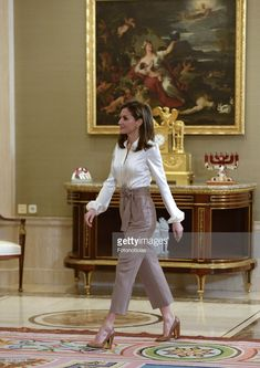 Queen Letizia of Spain attends Audiences at Zarzuela Palace on January 23, 2018 in Madrid, Spain.