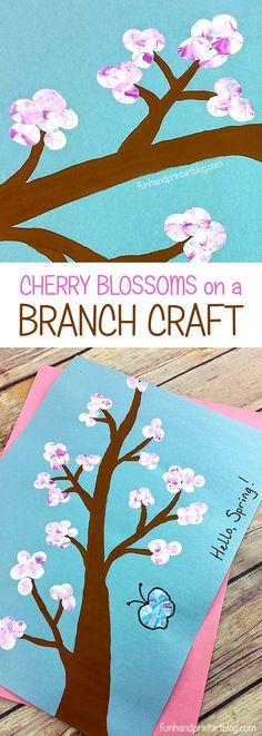Spring Kids Craft: Make Fingerprint Cherry Blossoms on a Branch
