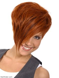 red short hair with a pointed fringe