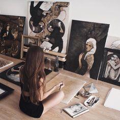 Ghostpoet - come near me 🎶 ☾ ∙ artist life, artist at work, croquis, art h Kunst Inspo, Art Inspo, Artist Life, Artist At Work, Avatar Manga, Bureau D'art, Artist Aesthetic, Art Hoe, Oeuvre D'art