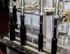 Olive oil being bottled.