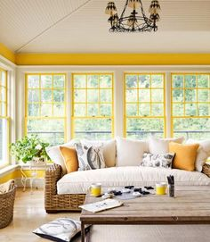 Yellow and White Living Room Decor   HAMPTONS STYLE