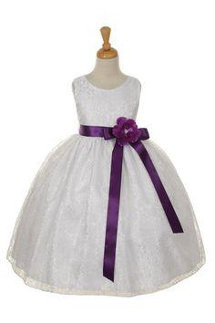 Purple lace Flower Girl Dresses | Elegant Vintage Lace Dress Removable Sash Flower Girl Graduation ...