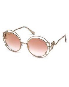 89406694c008 Roberto Cavalli Round Open-Inset Snake Sunglasses