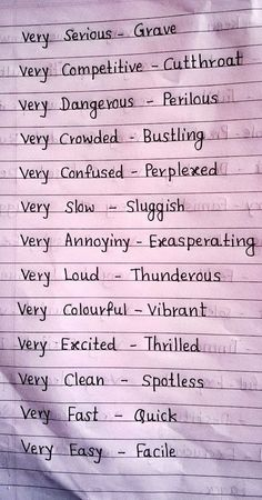 Words to use instead of very English Writing Skills, Book Writing Tips, Writing Words, English Lessons, Writing Ideas, Writing Prompts, Life Hacks For School, School Study Tips, School Tips