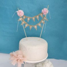 Rustic burlap cake banner Pink Birthday cake by Hartranftdesign, $34.00