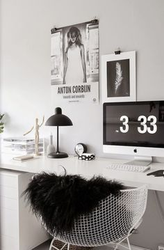 Workspace / home office. Love the black and white vibes.