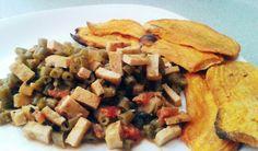 #vegan #veggie #papaDulce #habichuelas #tofu #tomate #cebolla #aceiteDeOliva #ajo #chiliSeco #lecheDeAlmendras