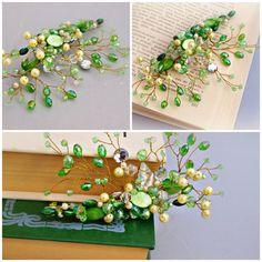 Matrimonio pettini, porcellana fredda, foglia pettine, pettine nuziale, fiore di primavera, gioielli primavera, monili di nozze
