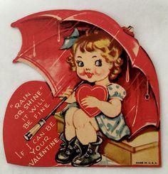 Pretty Blonde Girl In Dress Rain Boots  Die Cut Umbrella Vintage Valentine Card