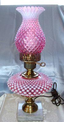 "MINTY~VINTAGE~40s""FENTON""GLASS""CRANBERRY OPALESCENT""HOBNAIL""LAMP SHADE | eBay"