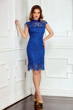 Rochie albastra de seara scurta din dantela