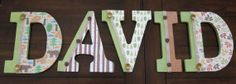 "9"" Decoupaged Boy's Letters - Nursery or Boy's Room by DecorativeDecoupage, $100.00"