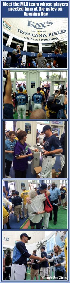 In this new era of baseball, it's nice to see the Tampa Bay Rays holding onto a wonderful opening day tradition: When the gates open for the first game, players are there to greet fans, scan tickets and even get hugs.