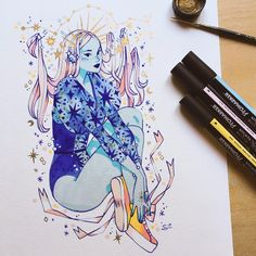 Last commission for Kickstarter rewards ! I've been inspired by renaissance dresses for this one ✨ Cute Sketches, Cute Drawings, Illustrations, Illustration Art, Character Drawing, Character Design, Posca Art, Marker Art, Marker Drawings