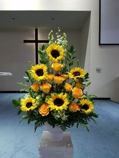 Yellow and white funeral flowers by you local Riverside florist - Willow Branch Florist of… Tall Flower Arrangements, Funeral Floral Arrangements, Sunflower Arrangements, Altar Flowers, Tall Flowers, Church Flowers, Funeral Flowers, Thanksgiving Flowers, Cemetery Flowers