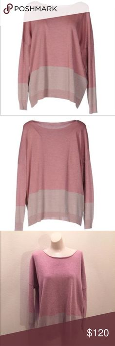 """Fabiana Filippi Pastel Pink Cotton Sweater XL Fabiana Filippi Women's size XL Made in Italy 80% cotton 18% Polyester 2% Elastane Bust 48"""" Length 26"""" Excellent preowned condition Fabiana Filippi Sweaters Crew & Scoop Necks"""