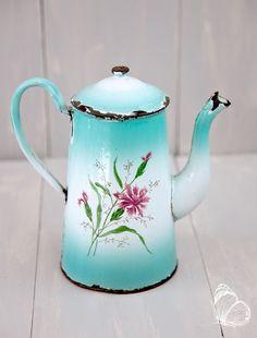 French Vintage Enamel Coffee Pot  White and by ScrumptiousVenus