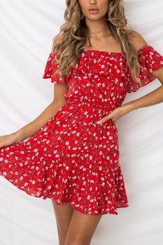 Summer Dress Sexy Off Shoulder Floral Beach Dress Women Spaghetti Strap Boho Red Mini Dress Casual Ladies Elasticity Dresses Cheap Skater Dresses, Sexy Summer Dresses, Trendy Dresses, Sexy Dresses, Dress Outfits, Casual Dresses, Dress Summer, Cute Red Dresses, Beach Outfits